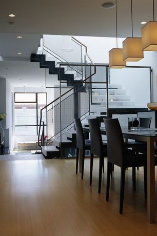 Modern Dining Room with Lights Up! Rex Square Pendant Lamp (Large), Calligaris Anais Dining Chair