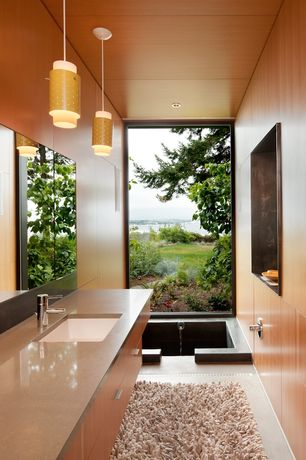 Modern Master Bathroom with Flush, European Cabinets, Pendant light, Soapstone, Undermount sink, Concrete floors, Gobi