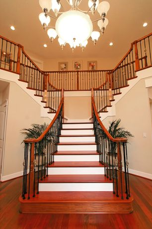 Traditional Staircase with Cherry hardwood flooring, Paint, can lights, Progress lighting - p4116-81