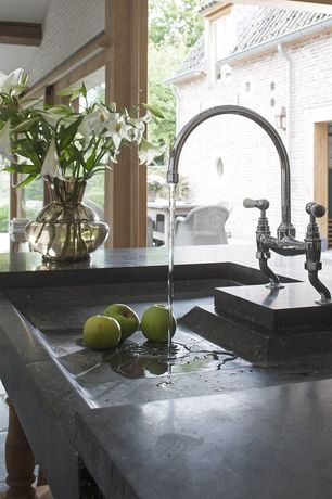 Contemporary Kitchen with Kohler k-6130-4-cp polished chrome parq deck-mount kitchen bridge faucet