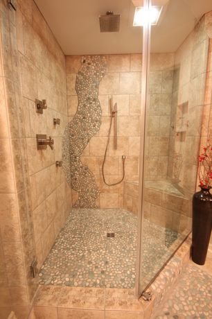 Contemporary Master Bathroom with Rain shower, quartz floors, Creama river rock marble mosaic tile, Master bathroom