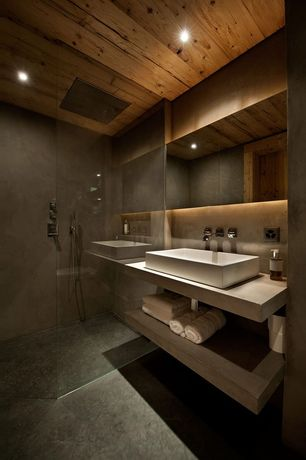 Modern Full Bathroom with Handheld showerhead, specialty door, Wood paneled ceiling, Travertine counters, Vessel sink