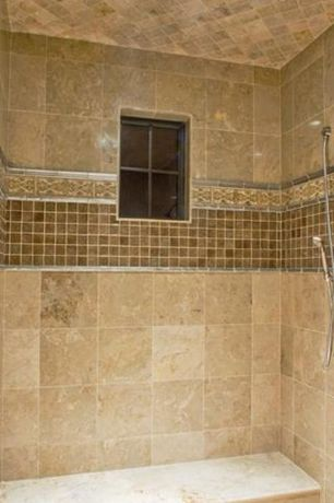 Mediterranean 3/4 Bathroom with Pental - jurastone beige polished limestone tile, Handheld showerhead