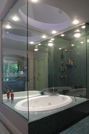 Modern Master Bathroom with Acuzzi whirlpool  luna whirlpool tub, can lights, Skylight, Shower, drop in bathtub, Open concept
