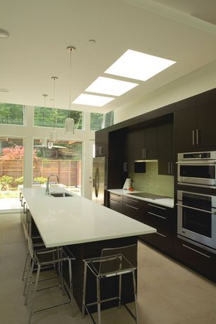 Contemporary Kitchen with Dupont Corian Designer White, Cb2 Vapor Bar Stool, Destiny: slab cabinets