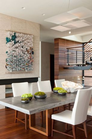Contemporary Dining Room with can lights, Laminate floors, Pendant light, stone fireplace, Fireplace, High ceiling