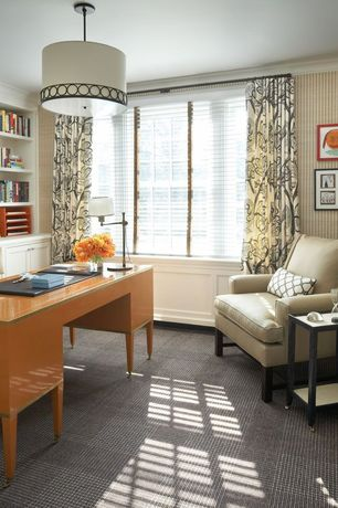 Contemporary Home Office with interior wallpaper, Wainscotting, Standard height, Crown molding, specialty window, Carpet