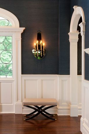 Traditional Hallway with Wall sconce, Transom window, Wainscotting, Hardwood floors, High ceiling, Chair rail
