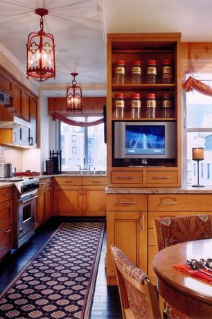 Country Kitchen with gas range, partial backsplash, Shades of Light Bamboo Lantern, Flat panel cabinets, Crown molding