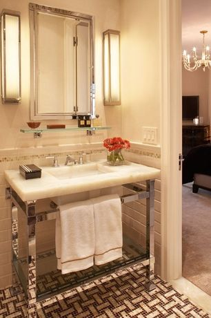 Art Deco Powder Room with Ann sacks capriccio field tile - white gloss, Restoration hardware hudson washstand, Console sink