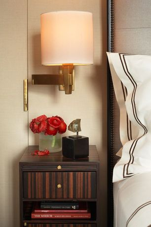 Contemporary Master Bedroom with Restoration Hardware Masion Panel Bed, Derring Hall Villa Bedside Table - Macassar