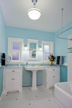Cottage Full Bathroom with American olean satinglo ice white porcelain mosaic floor tile, Flat panel cabinets, Inset cabinets