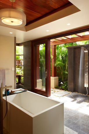 Master Bathroom with Outdoor shower, Pendant light, Aqua Bath Hi-Bath Mini Tub, Rain shower, Exos Double Shade Pendan