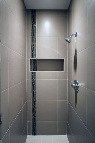 Contemporary 3/4 Bathroom with Wall mount shower head, Porcelain wall tiles, Vertical tile strip