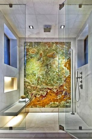Contemporary Master Bathroom with frameless showerdoor, 12 Inch Square Brass LED Rain Shower Head, Handheld showerhead, Mural