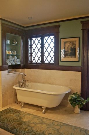 Craftsman Master Bathroom with Emser, Trav Chiseled Scabos 16 in. x 24 in. Travertine Floor and Wall Tile
