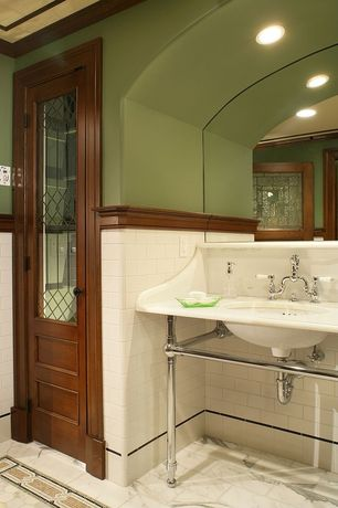 Craftsman Full Bathroom with Powder room, MS International Arabescato Statuary Marble Tile, Console sink, Crown molding