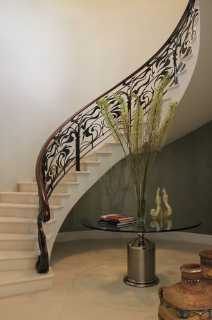 Contemporary Staircase with Cathedral ceiling, Concrete tile