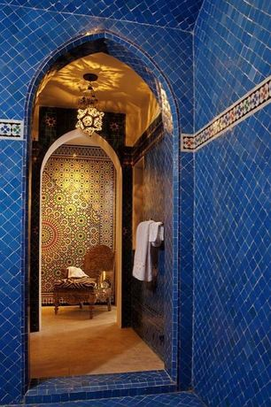 Mediterranean Master Bathroom with Stain concrete, Moorish Pierced Brass Star-shaped Ceiling Light