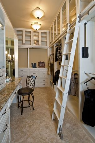 Traditional Closet with travertine tile floors, Wall sconce, flush light, Magnolia counter height swivel bar stool