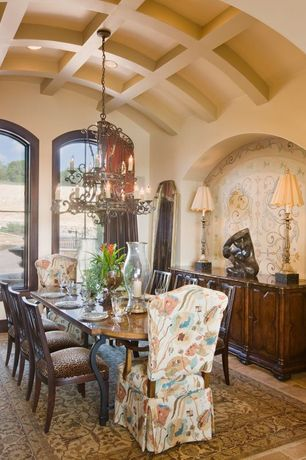 Eclectic Dining Room with Chandelier, Hardwood floors, can lights, Mural, Arched window, Box ceiling, Standard height