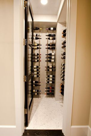 Contemporary Wine Cellar with Glass panel door, Crown molding, simple marble floors, Custom wine storage, flush light