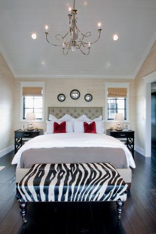 Contemporary Master Bedroom with Alisha Ottoman Bench In Zebra Print, can lights, Standard height, Crown molding, Chandelier