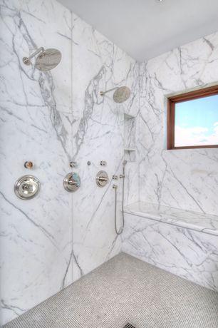 Contemporary Master Bathroom with ceramic tile floors, Standard height, no showerdoor, Emser treasure - prize, Shower