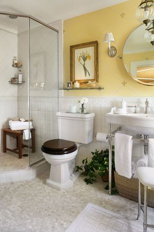 Traditional Full Bathroom with Kohler white memoirs stately 1.28 gf two-piece round toilet, Crown molding, Shower, Chandelier