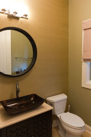 Modern Powder Room with Vessel sink, Paint 1, wall-mounted above mirror bathroom light, Standard height, Casement, Flush