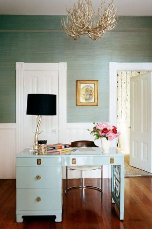 Contemporary Home Office with Wainscotting, Chandelier, White spur desk, interior wallpaper, Arteriors adler lamp