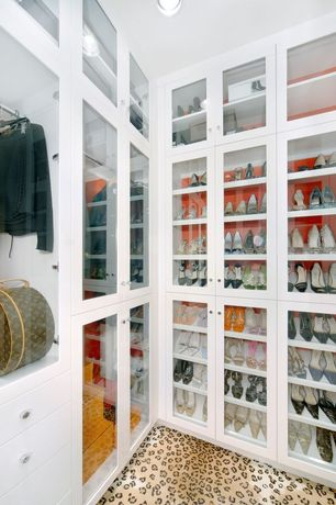 Contemporary Closet with can lights, Paint, Standard height, Carpet, Built in shelves with glass door