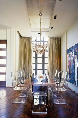 Contemporary Dining Room with French doors, Chandelier, Standard height, picture window, Hardwood floors, can lights