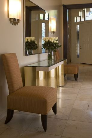 Contemporary Entryway with Transom window, Monsoon pacific aprilla parsons chair, Console table, Kovacs wall sconce