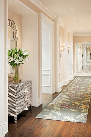 Traditional Hallway with Crown molding, Cm-1014 crown molding, Wall sconce, Moorish chest, The portico rug, Hardwood floors