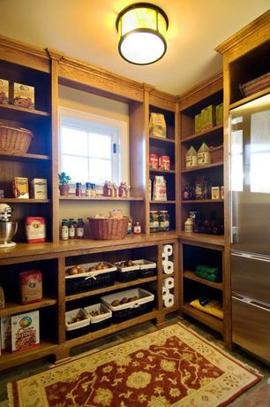 Traditional Pantry with Ikea Borgsjo Shelf Unit, Brown, Anatolia Power-loomed Floral Heriz/ Red-Cream Area Rug (3'11 x 5'6)