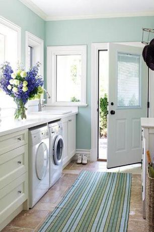 Country Laundry Room with travertine tile floors, Coat hook, Ceiling molding, Glass panel door, Built-in bookshelf