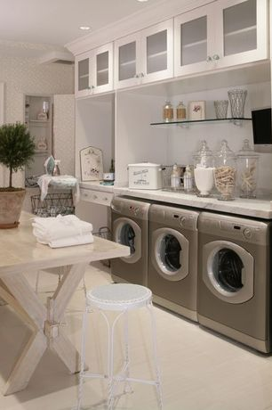 Traditional Laundry Room with Glazed porcelain floor tile, Glass door cabinets, Floating glass shelf