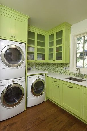 Modern Laundry Room with LG 4.3-cu ft High-Efficiency Stackable Front-Load Washer with Steam Cycle