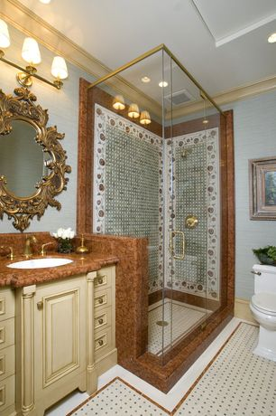 """Traditional 3/4 Bathroom with Standard height, Elitetile - new york 1-7/8"""" x 1-7/8"""" porcelain mosaic tile in antique, Paint 2"""