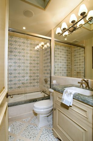 Traditional Full Bathroom with Skylight, MS International Arabescato Carrara Marble Tile, Simple granite counters