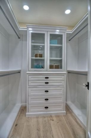 Contemporary Closet with Standard height, can lights, Built-in bookshelf, Hardwood floors, Crown molding