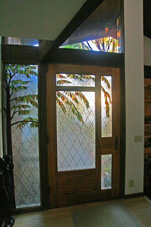 Craftsman Entryway with Standard height, Stained glass window, Carpet, French doors, Exposed beam, Transom window