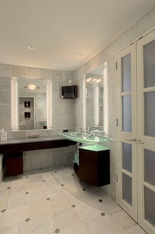 "Contemporary Master Bathroom with George Kovacs Chrome 20 1/2"" Wide ADA Bathroom Light, Inset cabinets, Undermount sink"