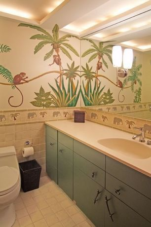 Tropical Kids Bathroom with Mural, High ceiling, no bedroom feature, Tropical theme, Concrete tile , Wall sconce, Paint
