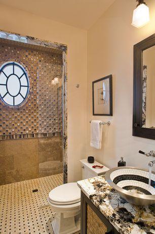 Modern 3/4 Bathroom with frameless showerdoor, Oregon Tile & Marble Genesis Granite, Flat panel cabinets, Flush, Vessel sink
