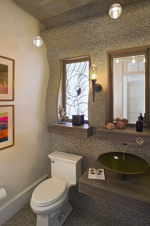 Eclectic Powder Room with Vessel sink, Pendant light, Bocci single pendant, Powder room, Standard height, quartz floors