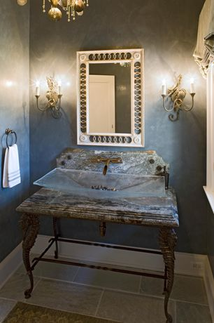 Traditional Powder Room with Chandelier, Vessel sink, Wall sconce, Complex granite counters, Powder room