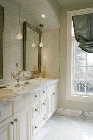 Traditional Master Bathroom with Ms international - calacatta gold premium marble, Pendant light, Raised panel, Powder room
