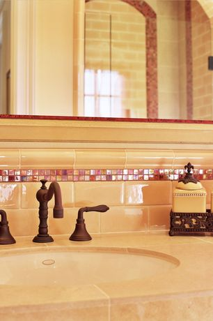 Traditional Full Bathroom with Iridescent Kaleidoscope Runway Red Glass Mosaic, DOLCE WIDESPREAD COPPER BATHROOM FAUCET